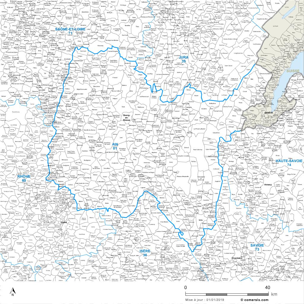 Carte des villes et communes limitrophes de l'Ain