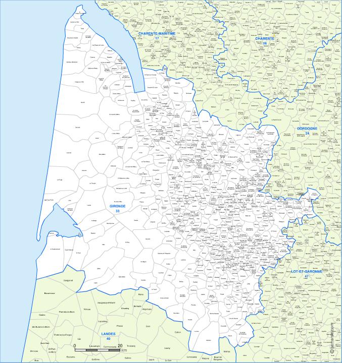 Carte des villes et communes limitrophes de la Gironde