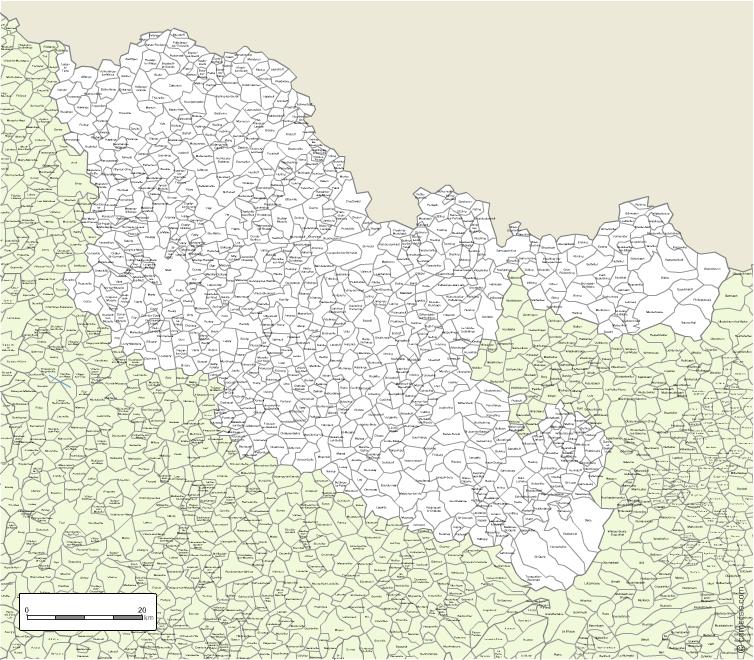 Carte des villes et communes limitrophes de la Moselle