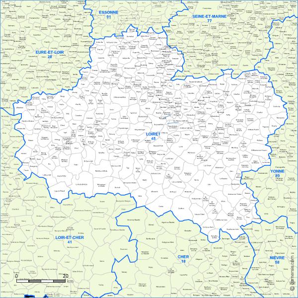 carte des villes et communes limitrophes du loiret