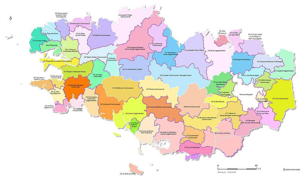 Carte Bretagne Lamballe.Carte Des Intercommunalites De Bretagne