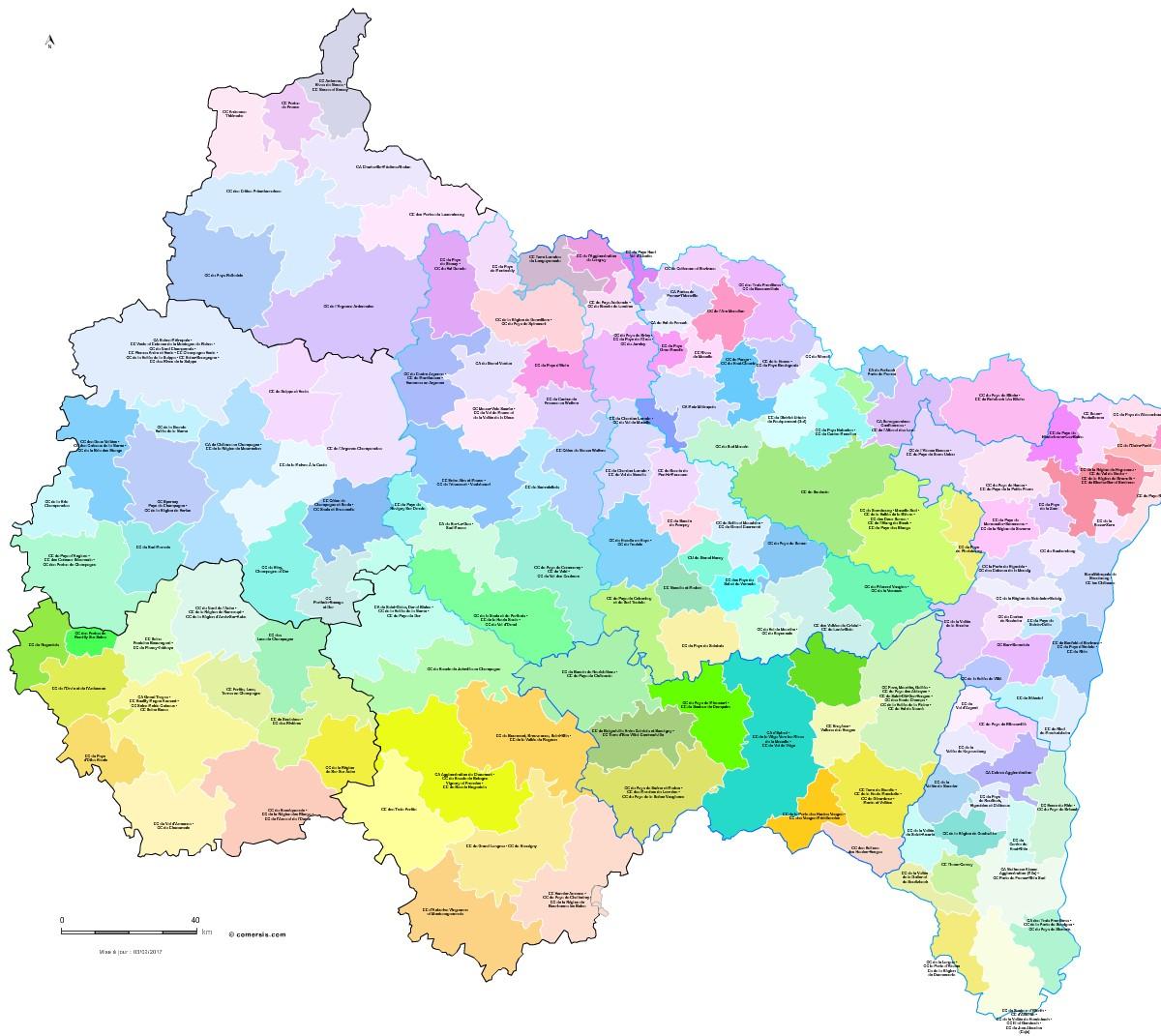 carte est de la france Carte des intercommunalités du Grand Est