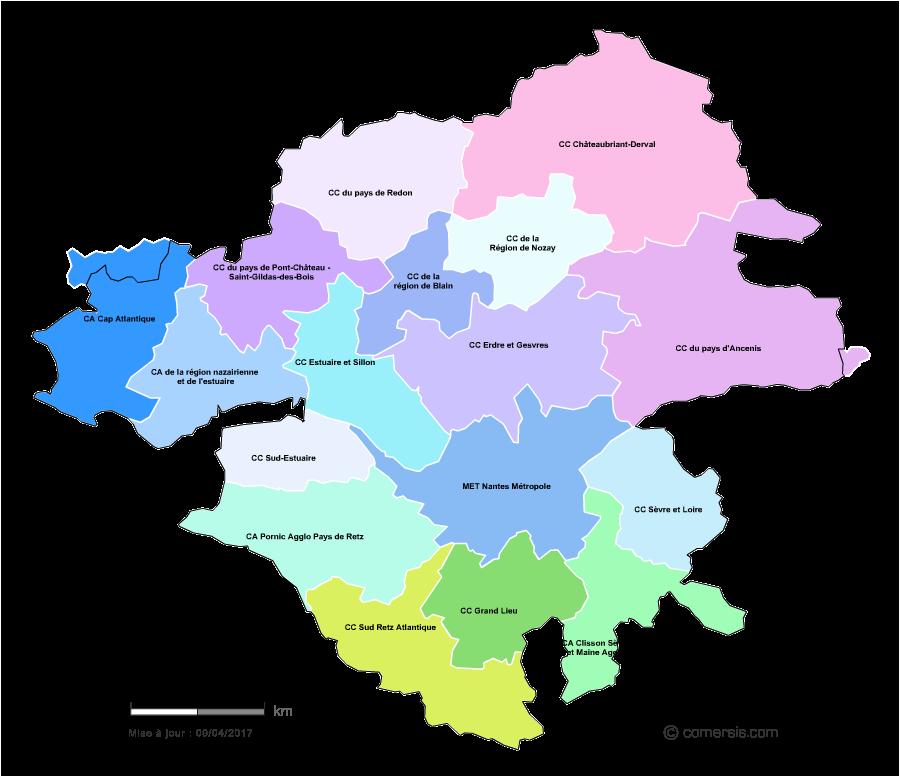 Carte Loire Atlantique.Carte Des Intercommunalites De La Loire Atlantique