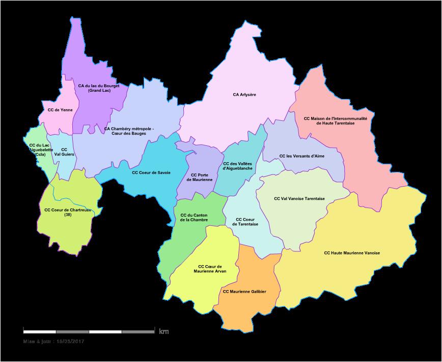 Carte des intercommunalités de la Savoie