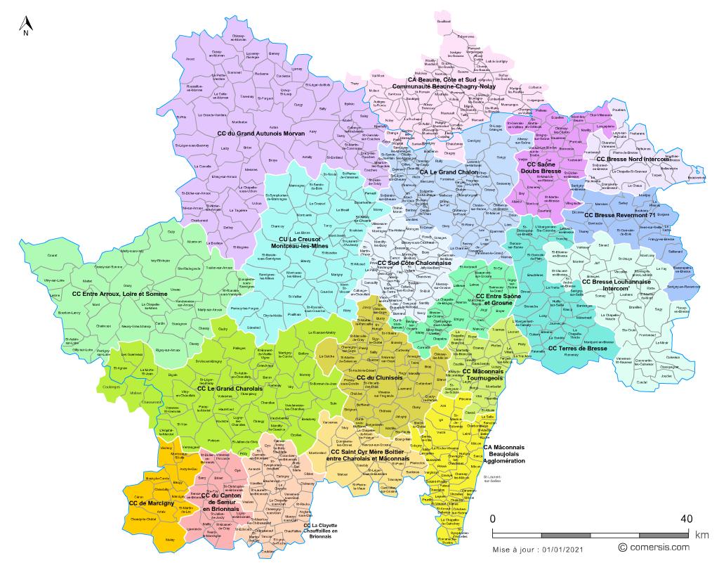 carte des intercommunalités de Saône-et-Loire