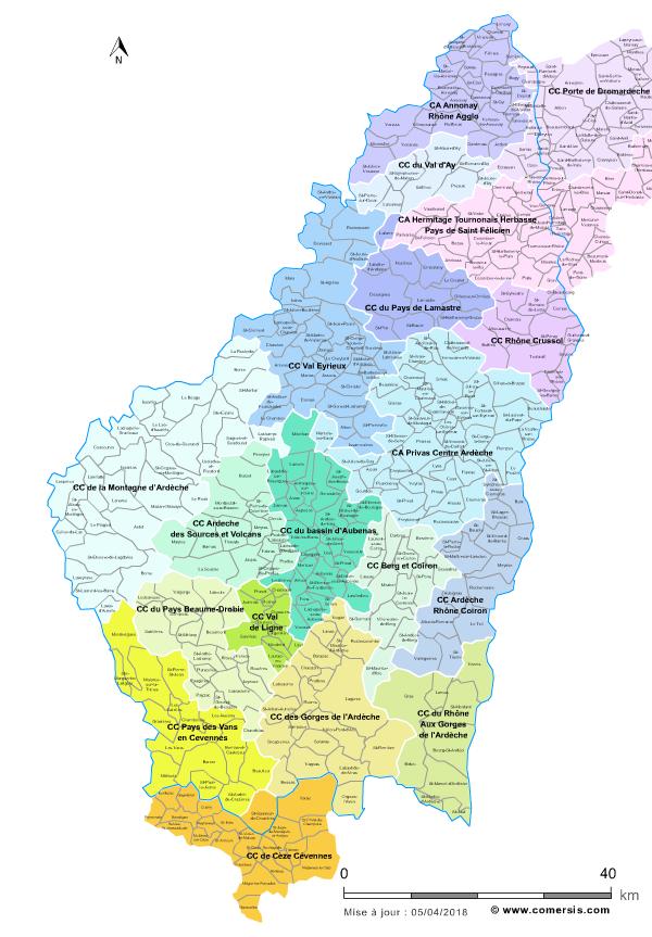 gorges de l ardèche carte Carte des intercommunalités de l'Ardèche avec communes