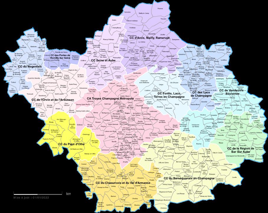 carte des intercommunalités de l'Aube