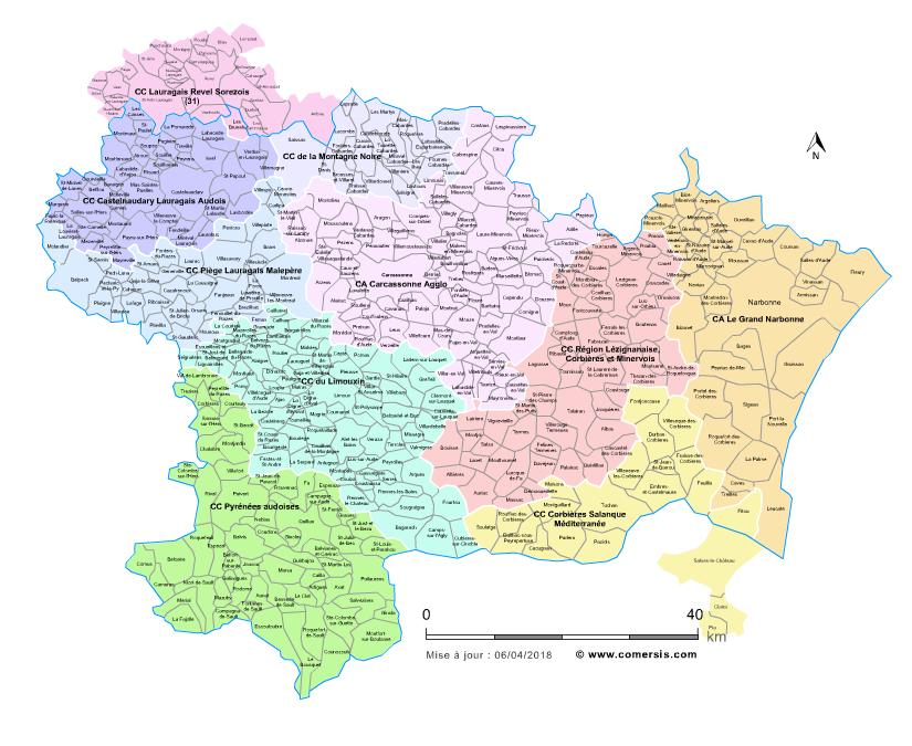 carte de l aude communes Carte des intercommunalités de l'Aude avec communes