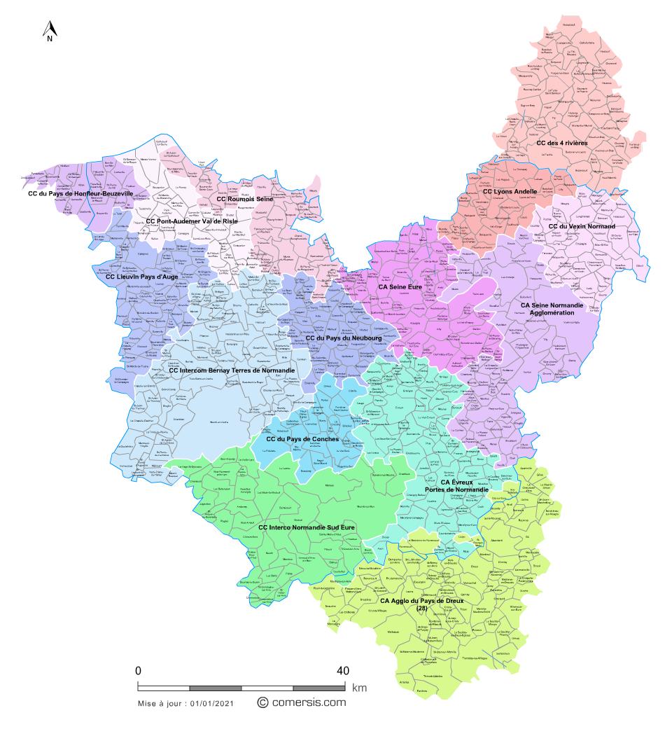 carte des communes de l eure Carte des intercommunalités de l'Eure avec communes