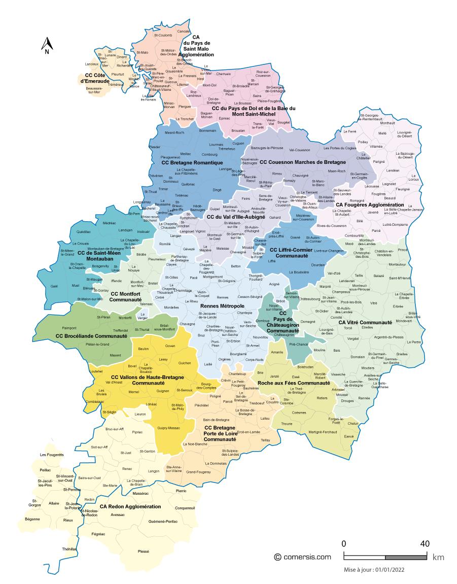 Carte Bretagne Romantique.Carte Des Intercommunalites De L Ille Et Vilaine Avec Communes