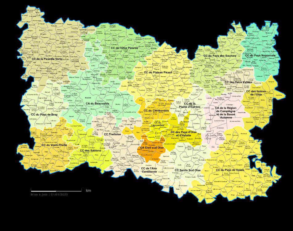 carte de l oise avec les communes Carte des intercommunalités de l'Oise avec communes