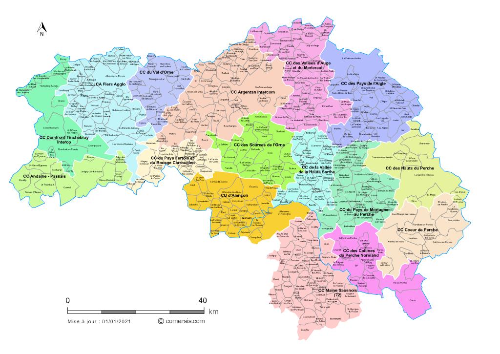 carte de l orne Carte des intercommunalités de l'Orne avec communes