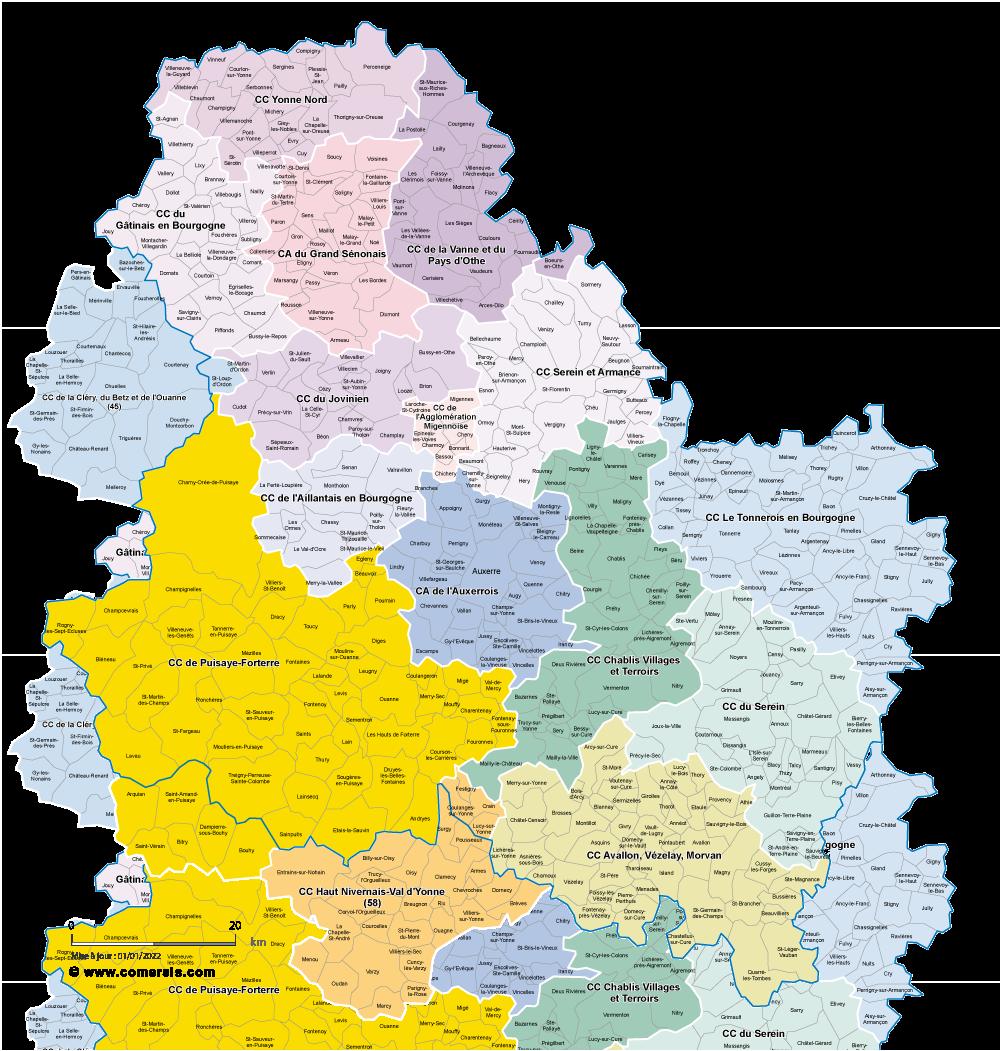 carte de l yonne 89 Carte des intercommunalités de l'Yonne avec communes