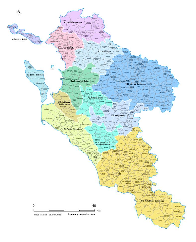 carte des intercommunalités de la Charente-Maritime