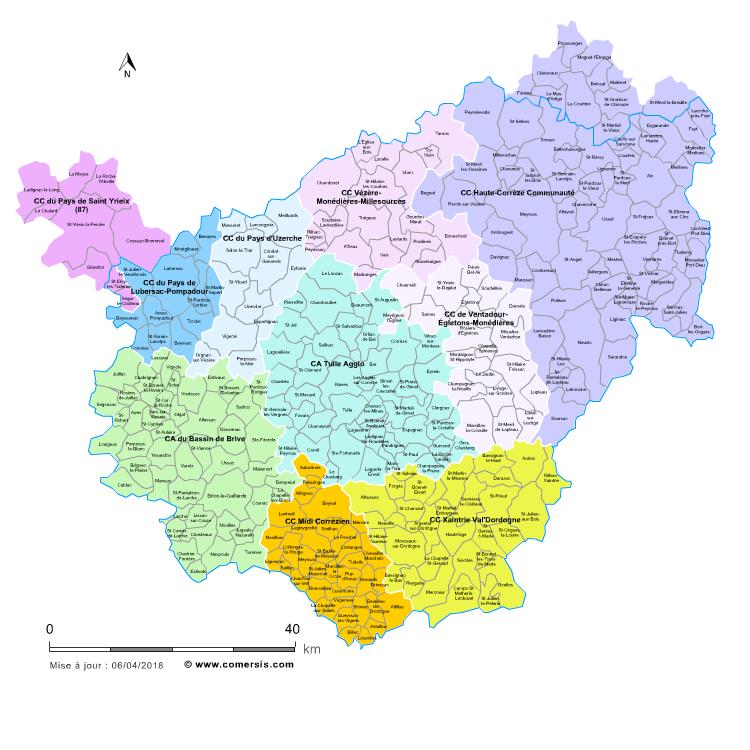 carte des intercommunalités de la Corrèze