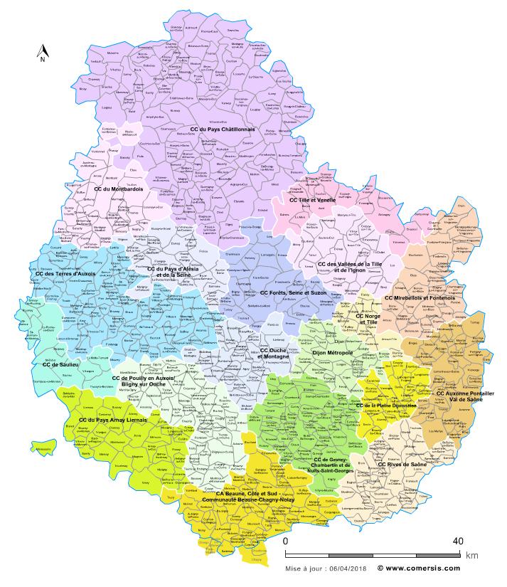 carte cote d or Carte des intercommunalités de la Côte d'Or avec communes