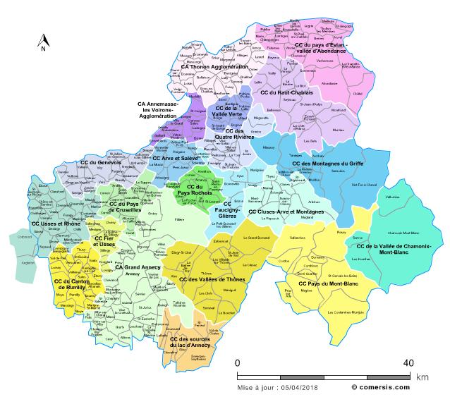 vallée de l arve carte Carte des intercommunalités de la Haute Savoie avec communes