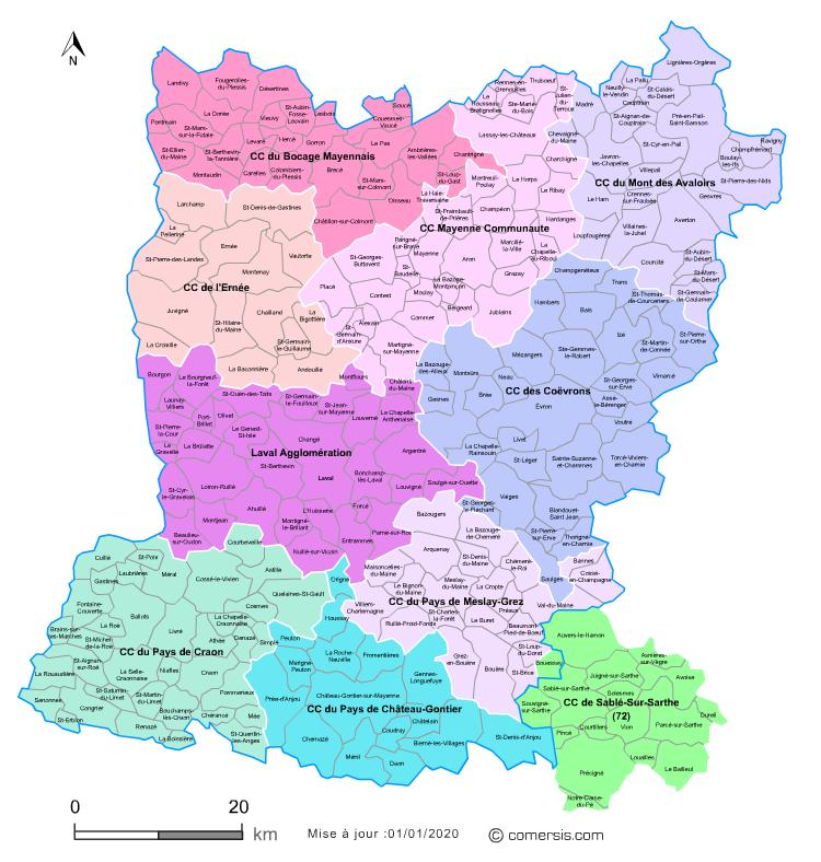 Carte des intercommunalit s de la mayenne avec communes - Les toiles de mayenne ...