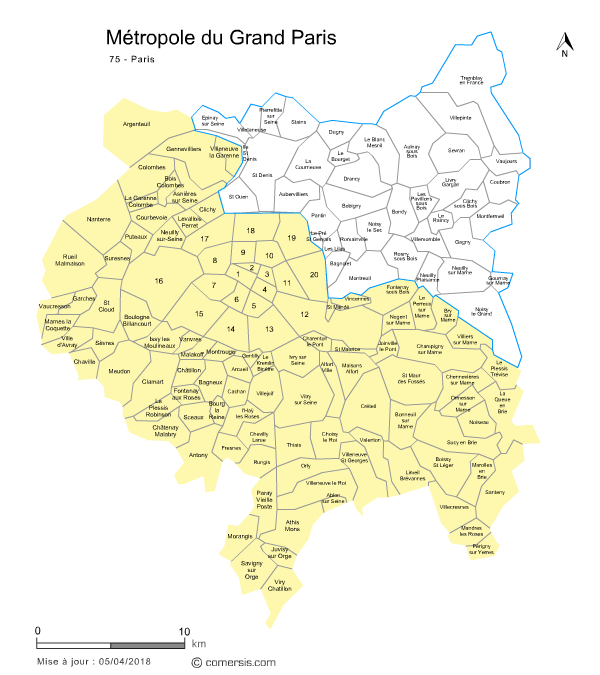 carte des intercommunalités de la Seine-Saint-Denis