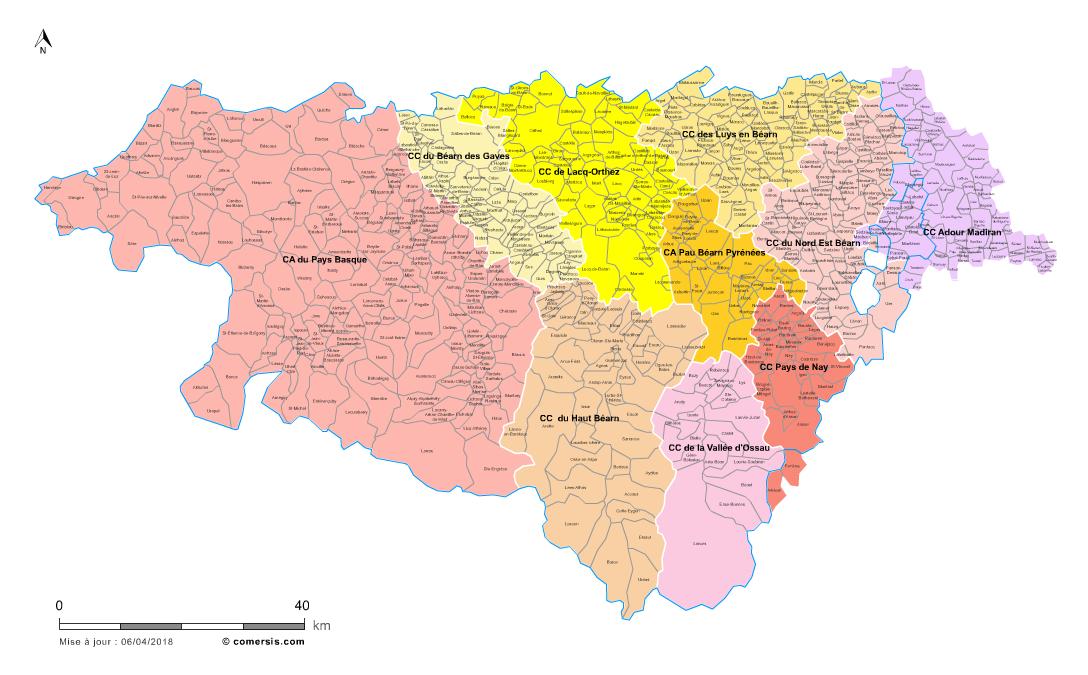 carte des intercommunalités des Pyrénées-Atlantiques