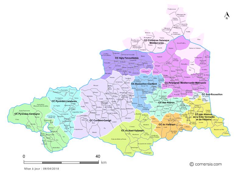 carte des intercommunalités des Pyrénées-Orientales