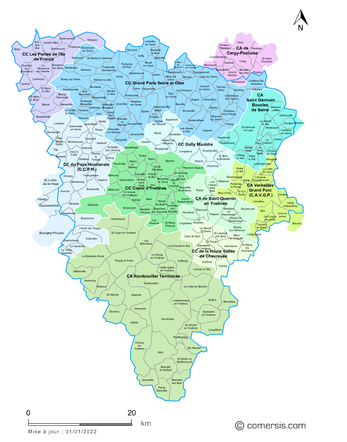 Carte des intercommunalit s des yvelines avec communes for Visite yvelines 78
