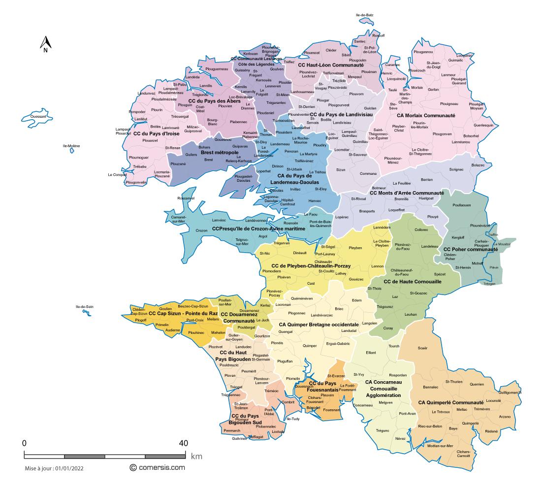 carte du finistere avec les communes Carte des intercommunalités du Finistère avec communes