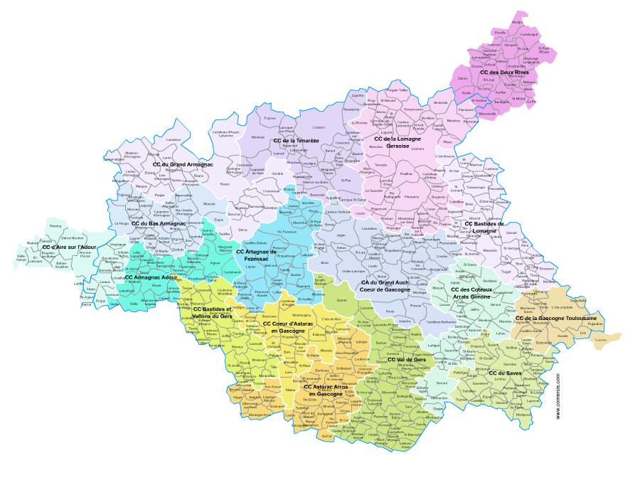carte des intercommunalités du Gers