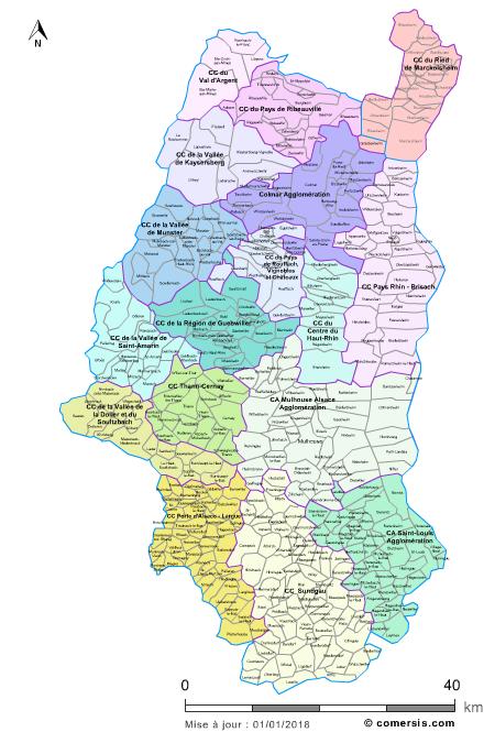 carte alsace haut rhin Carte des intercommunalités du Haut Rhin avec communes