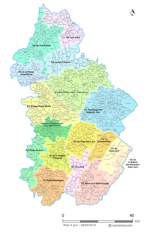carte departement jura