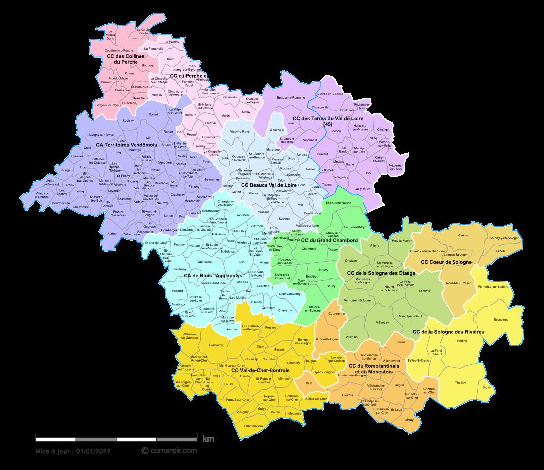carte des intercommunalit s du loir et cher avec communes