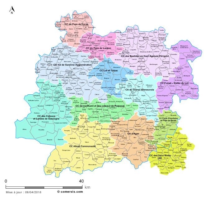 carte des intercommunalit 233 s du lot et garonne avec communes