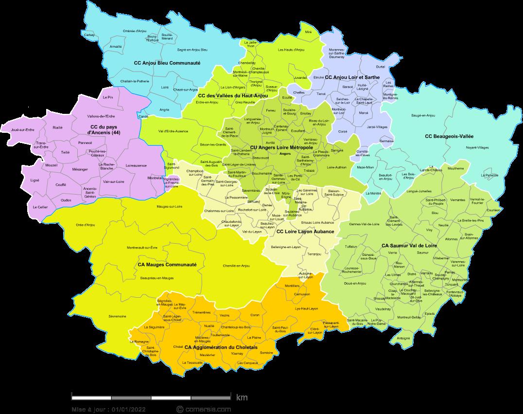Carte Des Intercommunalités Du Maine Et Loire Avec Communes