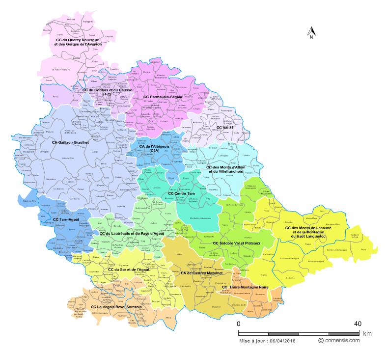 carte des intercommunalités du Tarn