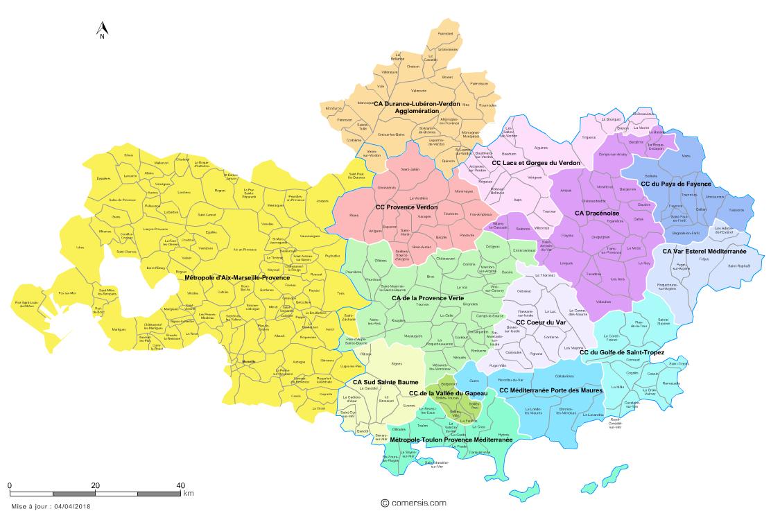carte des communes du var Carte des intercommunalités du Var avec communes