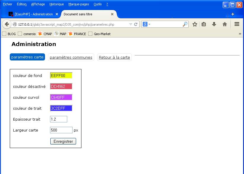 Administration de la carte interactive