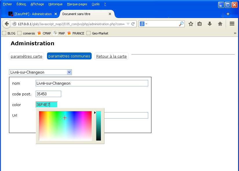 Selecteur de couleur et outils d'administration fournis avec nos cartes