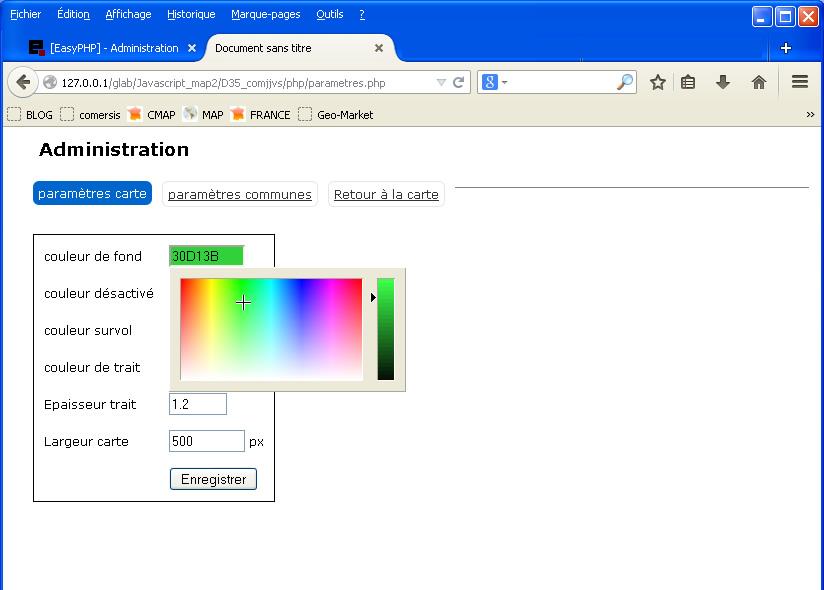 Paramètres - couleurs - dimensions de la carte
