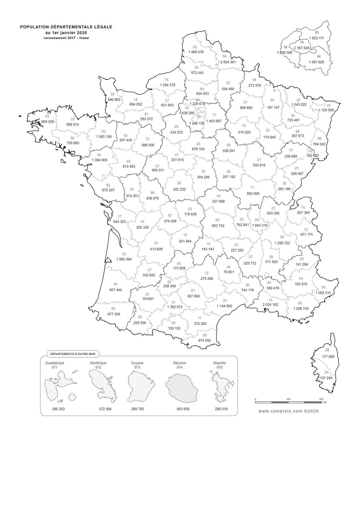 Carte de la population départementale de France 2020