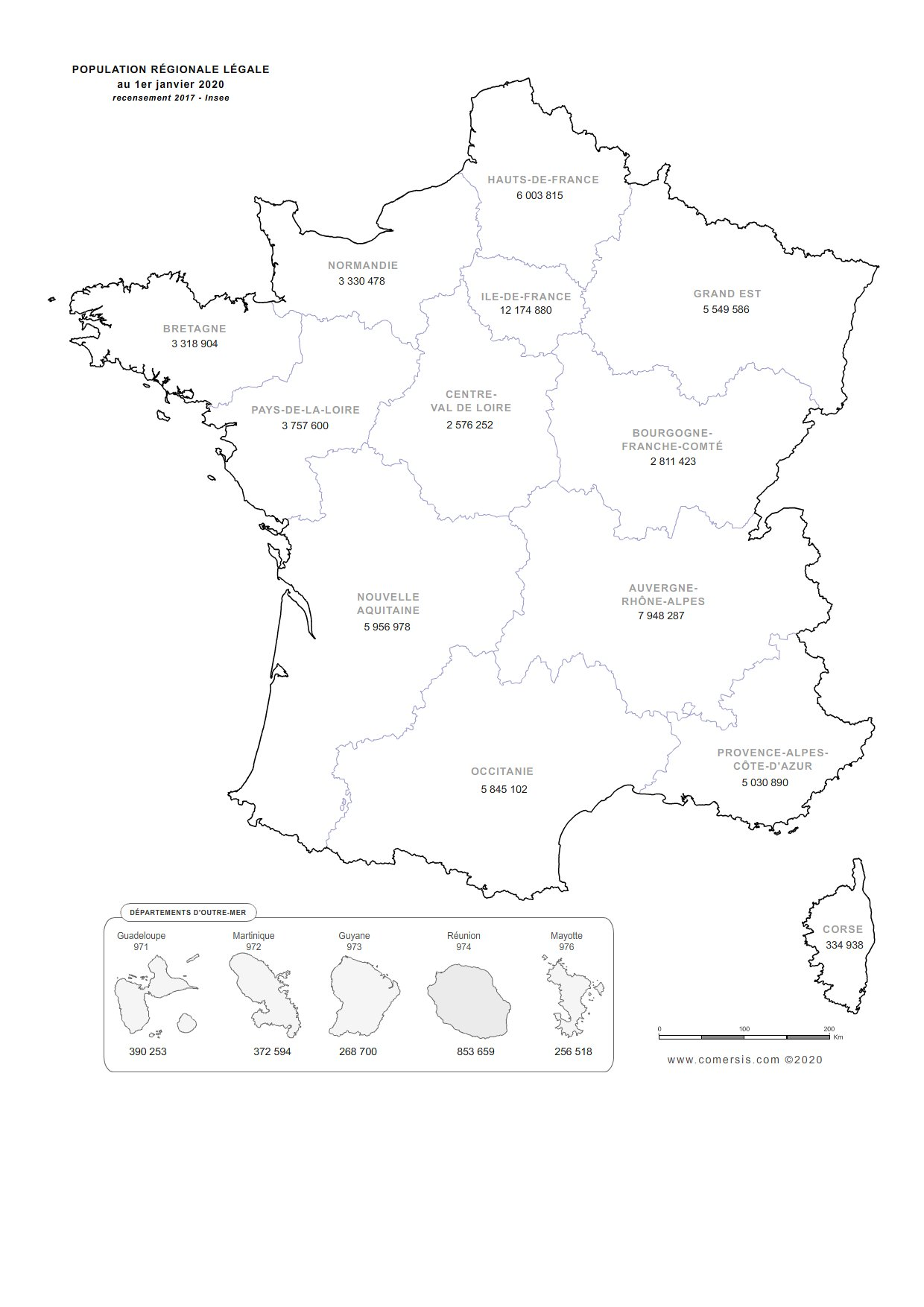 Carte de la population régionale de France 2020