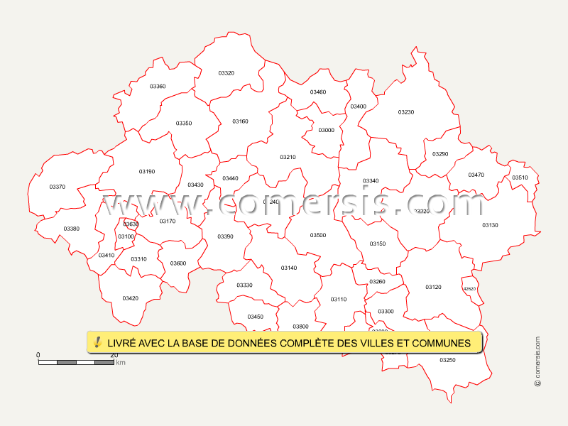 Carte Des Codes Postaux De L 39 Allier