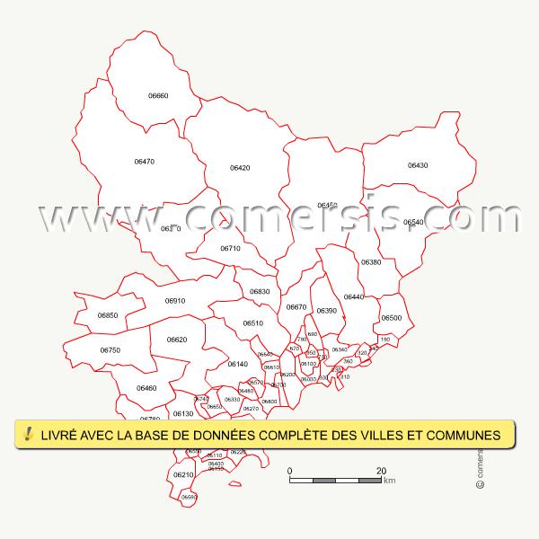 carte des codes postaux des alpes maritimes