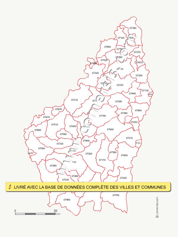 Fond de carte des codes postaux de l'Ardèche