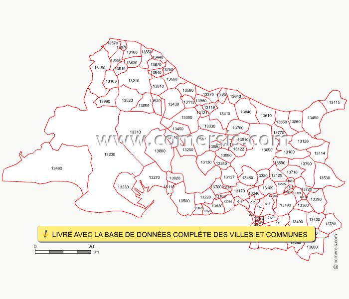 Carte des codes postaux des bouches du rh ne for Region bouche du rhone