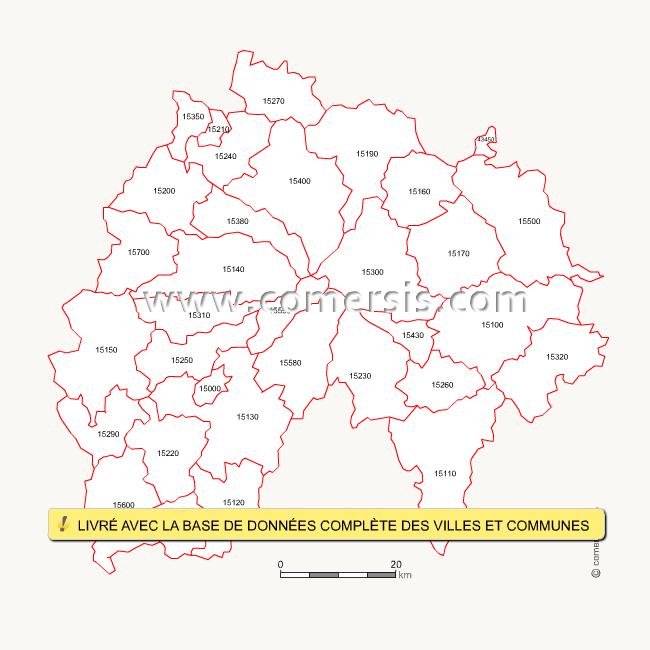 Carte des codes postaux du Cantal