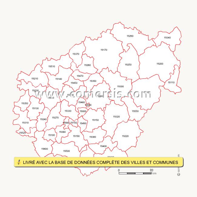 Fond de carte des codes postaux de la Corrèze
