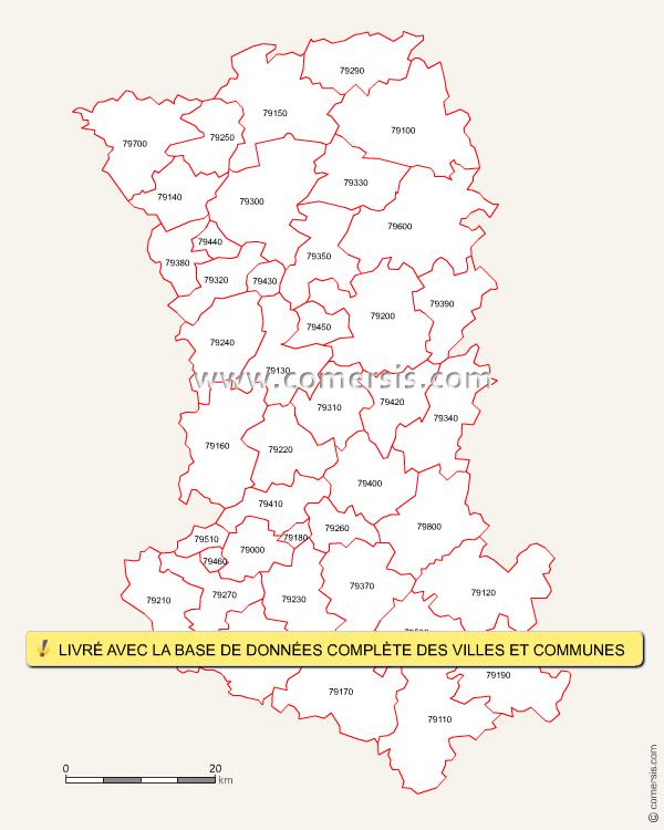 Carte des codes postaux des deux s vres for Deux sevres code postal