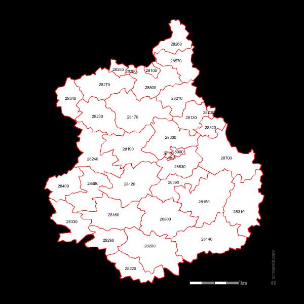 Carte des codes postaux d'Eure-et-Loir