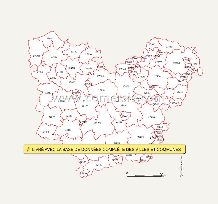 Carte des codes postaux de l'Eure