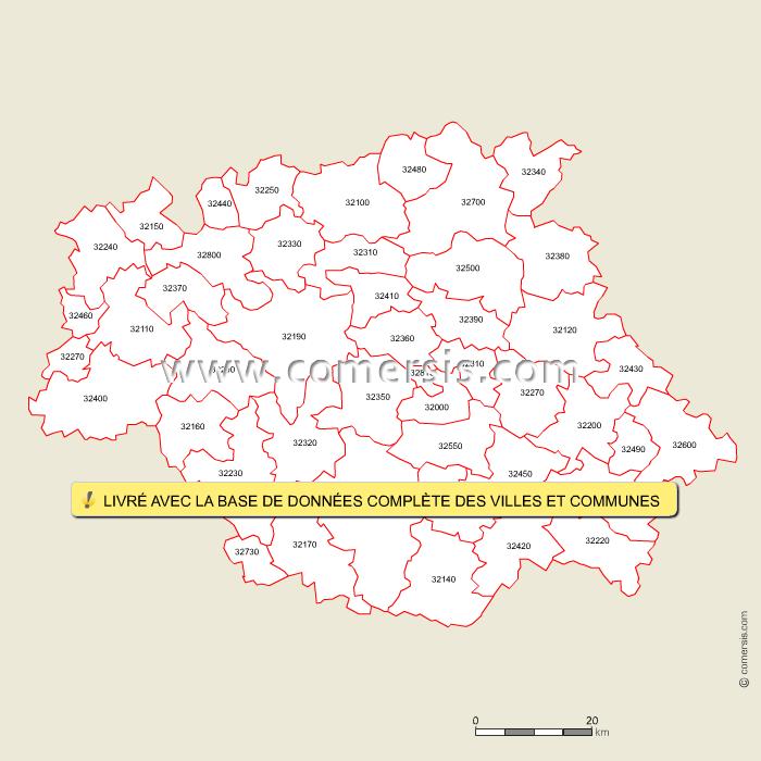 Fond de carte des codes postaux du Gers